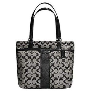 COACH Signature Stripe Gray & Black Medium Tote